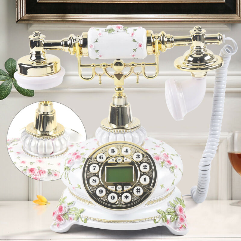 Luxury European Antique Phone Vintage Corded Retro Pastoral Telephone Home Desk