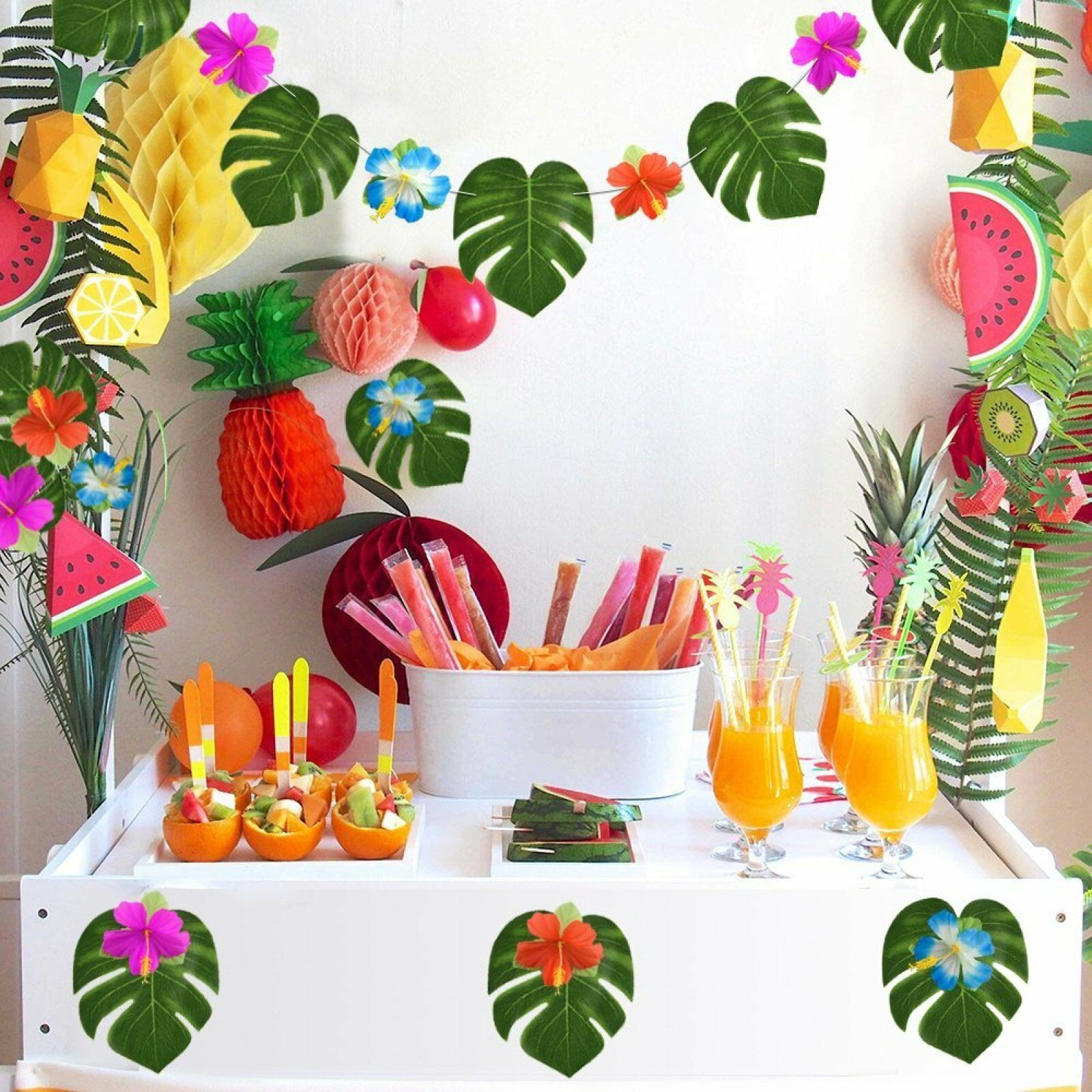 Details About 60 Pc Hawaiian Party Decorations Luau Party Supplies Tiki Theme Decor Flowers
