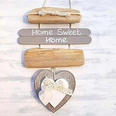 SHABBY DRIFTWOOD CHIC HOME SWEET HOME WOODEN HEART BOW DOOR PLAQUE SIGN.'