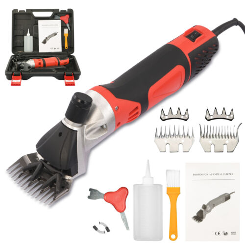 500W Electric Sheep Shears Goat Sheep Clippers 6 Speeds Animal Shave W/2 Blades