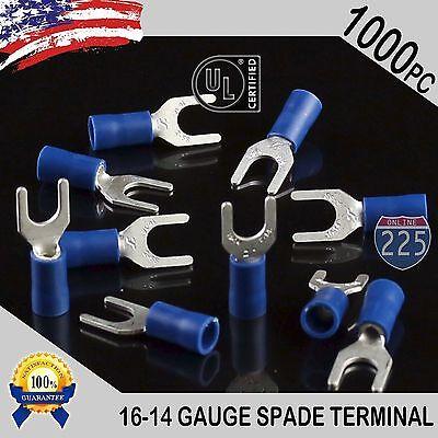 1000 Pack 16-14 Gauge Vinyl Spade Fork Crimp Terminals 10 Stud Tin Copper Core