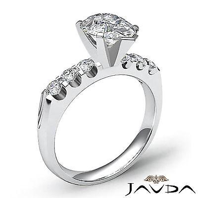 6 Stone Prong Set Pear Cut Diamond Engagement Ring GIA H SI1 Platinum 1.31 ct 2
