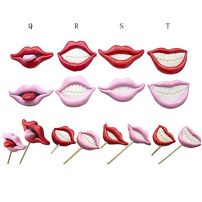 2PCS Photo Booth Props For Wedding/Party POLYMER CLAY Moustache/Lips On a - Stick Props For Photo Booth