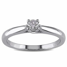 Amour Sterling Silver 1/6 Ct TDW Diamond Solitaire Ring H-I I2-I3