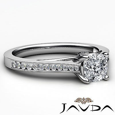Cushion Cut Diamond Channel Set Engagement Ring GIA H SI1 18k White Gold 1.03Ct 2