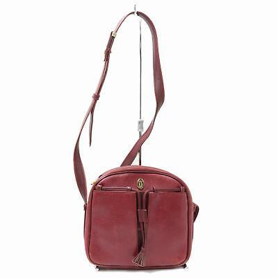Authentic Cartier Shoulder Bag  Bordeaux Leather 342599