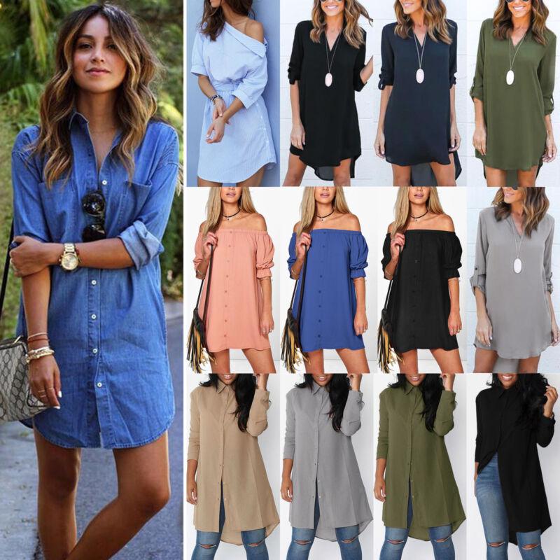 Damen Freizeit Hemdkleid Longshirt Sommer Tunika Hemd Bluse Longtop Oberteile