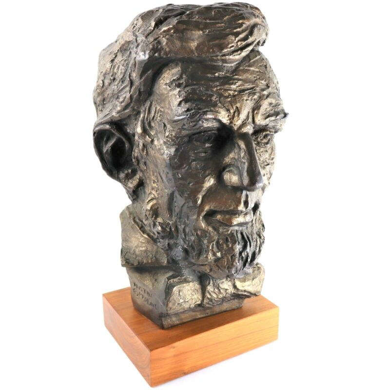 """Austin Production Inc Presidential Bust Sculpture Abe Lincoln 14"""" Display 1960s"""