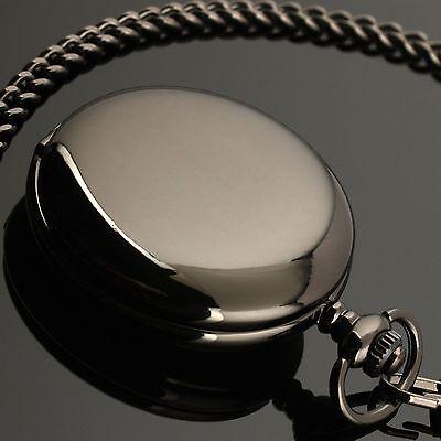 New Chain Vintage Black Mens Pocket Watch Antique Quartz Custom Engrave+Gift Box