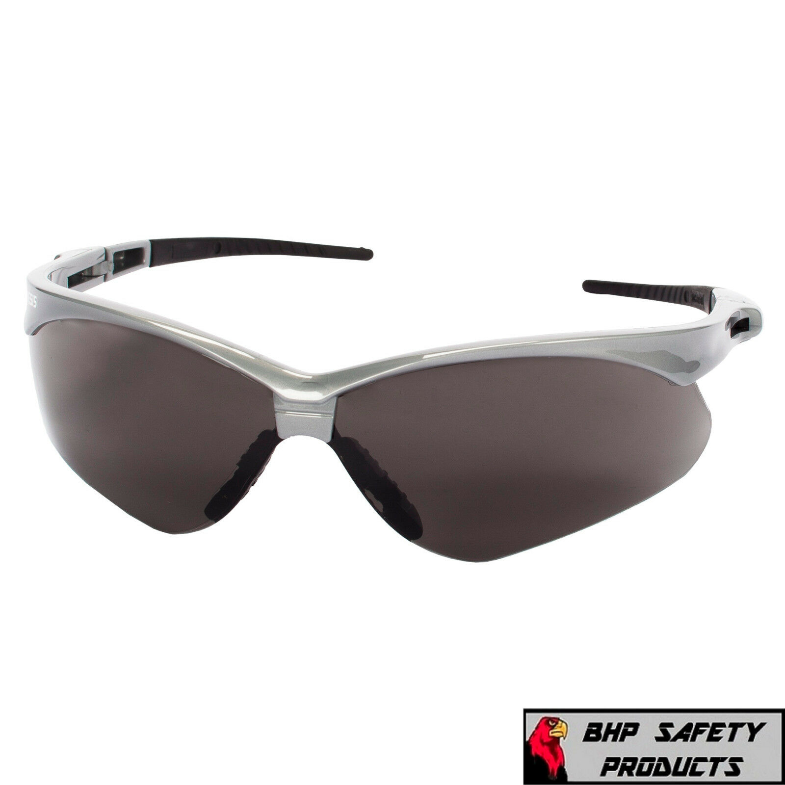 JACKSON NEMESIS SAFETY GLASSES SUNGLASSES SPORT WORK EYEWEAR ANSI Z87 COMPLIANT 47383- Silver Frame/Smoke AF Lens