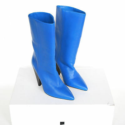 ISABEL MARANT electric blue leather high heel pointed toe Lexing boots 37 NEW
