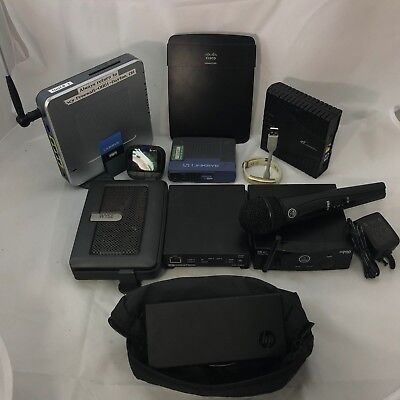 Electronics Lot of 10 Linksys/Crestron/HP/Cobra/WYSE/Westell/AKG/JawBone