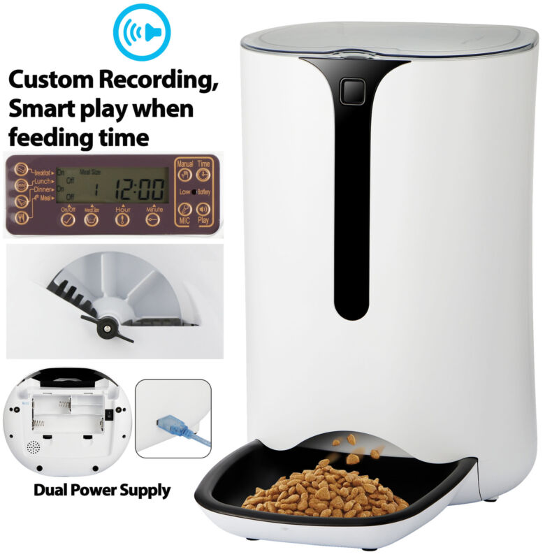 6L Automatic Pet Feeder Food Dispenser for Cat Dog Timer Programmable White