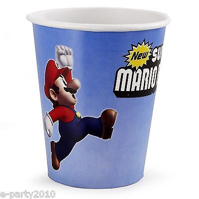 SUPER MARIO BROTHERS 9oz PAPER CUPS (8) ~ Birthday Party Supplies Luigi Nintendo