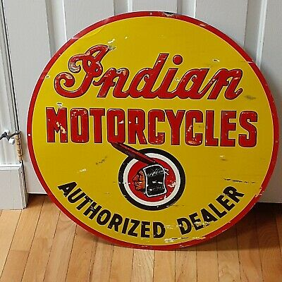 """Vintage INDIAN MOTORCYCLES SIGN """"STOUT"""" 1 of 850 made! AUTHORIZED DEALER 26"""" BIG"""