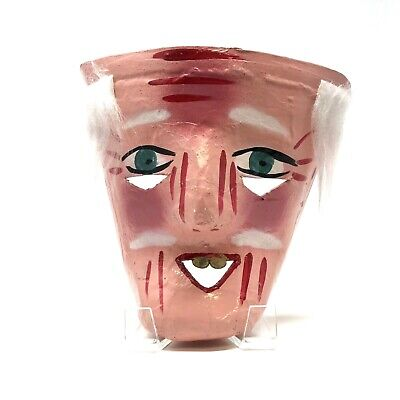 VINTAGE PAPER MACHE MASK OF MAN WITH GOLD TEETH RED MARKINGS WHITE HAIR