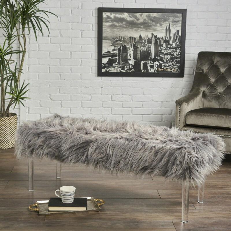 Klamma Glam Faux Fur Short and Straight Furry Ottoman