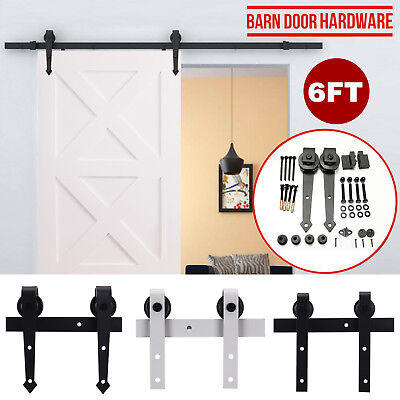 6FT Modern Sliding Barn Door Hardware Track Kit Antique Door Hardware Roller Set ()