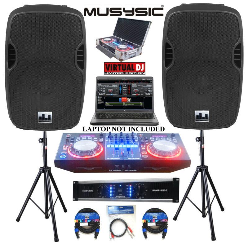 "Complete Professional DJ System 4500W Amp DJ MIDI Controller CD USB 15"" Speakers"