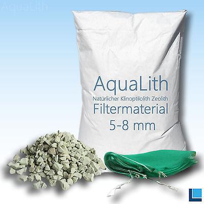ZEOLITH 5-8 mm 25 kg + 2x Filtersäcke XL Filtermaterial Aquarium Teich Koi