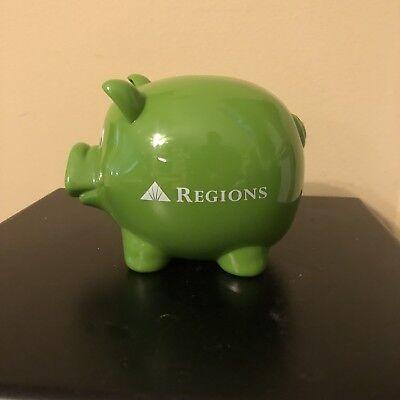 Piggy Bank Regions Bank Green Hard Plastic Pig