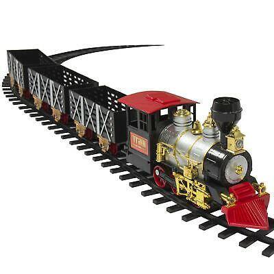 Battery Operated Electric Railway Train Set Play Toy - Real Smoke, Music, Lights