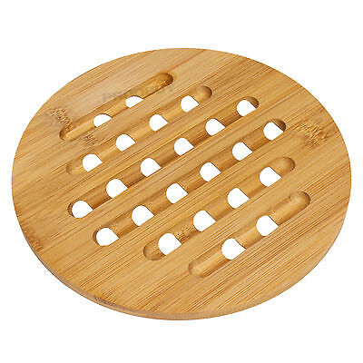 Round Bamboo Wood Trivet Kitchen Worktop Surface Protector Hot Pan Kettle Stand