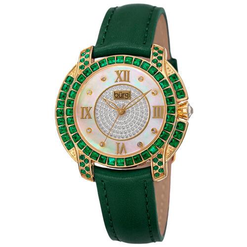 Women's Burgi BUR156GN Square Swarovski Crystal Mother of Pearl Diamond Watch