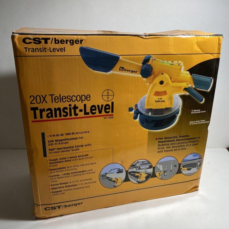 CST/Berger #54-140B 20X Optic Transit Level–Excellent Condition
