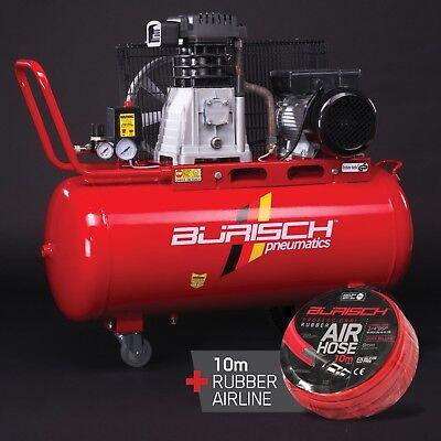 BURISCH Air Compressor 3HP 90L Belt Drive Twin + Airline Hose 10m / 32ft