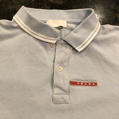 Women's Prada Shirt Vintage Polo Blue Fashion Designer 90's Rare