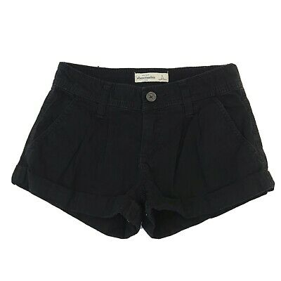 Abercrombie Kids Girls Youth Shorts Cuffed Chino Black Pleated Pockets Size 8