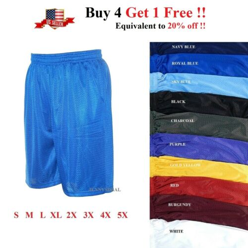 Mens Athletic Jersey 2 Pocket Mesh Shorts Gym Workout Basketball Fitness S-5x