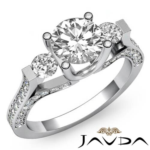 Round Diamond 3 Stone Engagement GIA F SI1 Platinum Prong Pave Set Ring 2.5ct