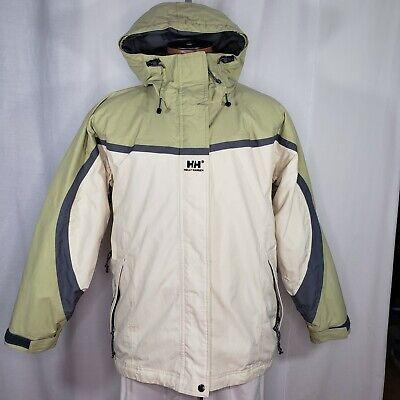 Helly Hansen Large Jacket Men's Full Zip Snow Thinsulate Tan Green Hooded Nylon