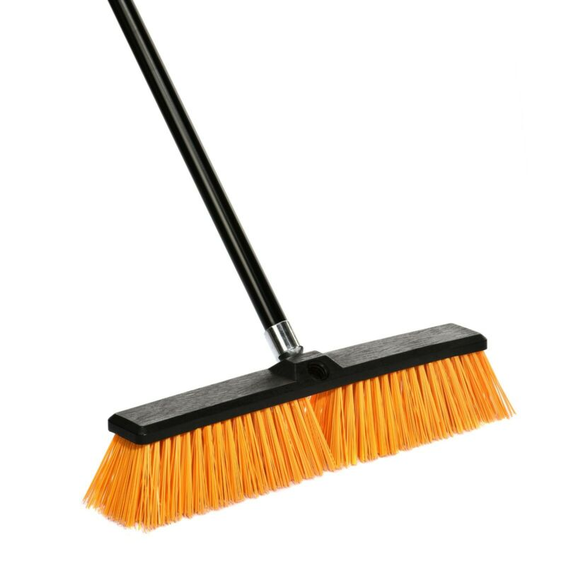 Alpine Industries 24 in. Yellow Rough Surface Foam Grip Commercial Push Broom