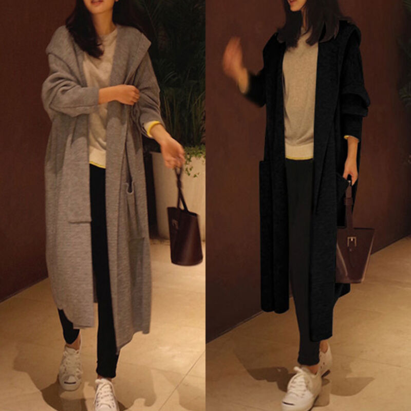 Womens Winter Casual Hooded Cardigan Ladies Knitted Long Swe