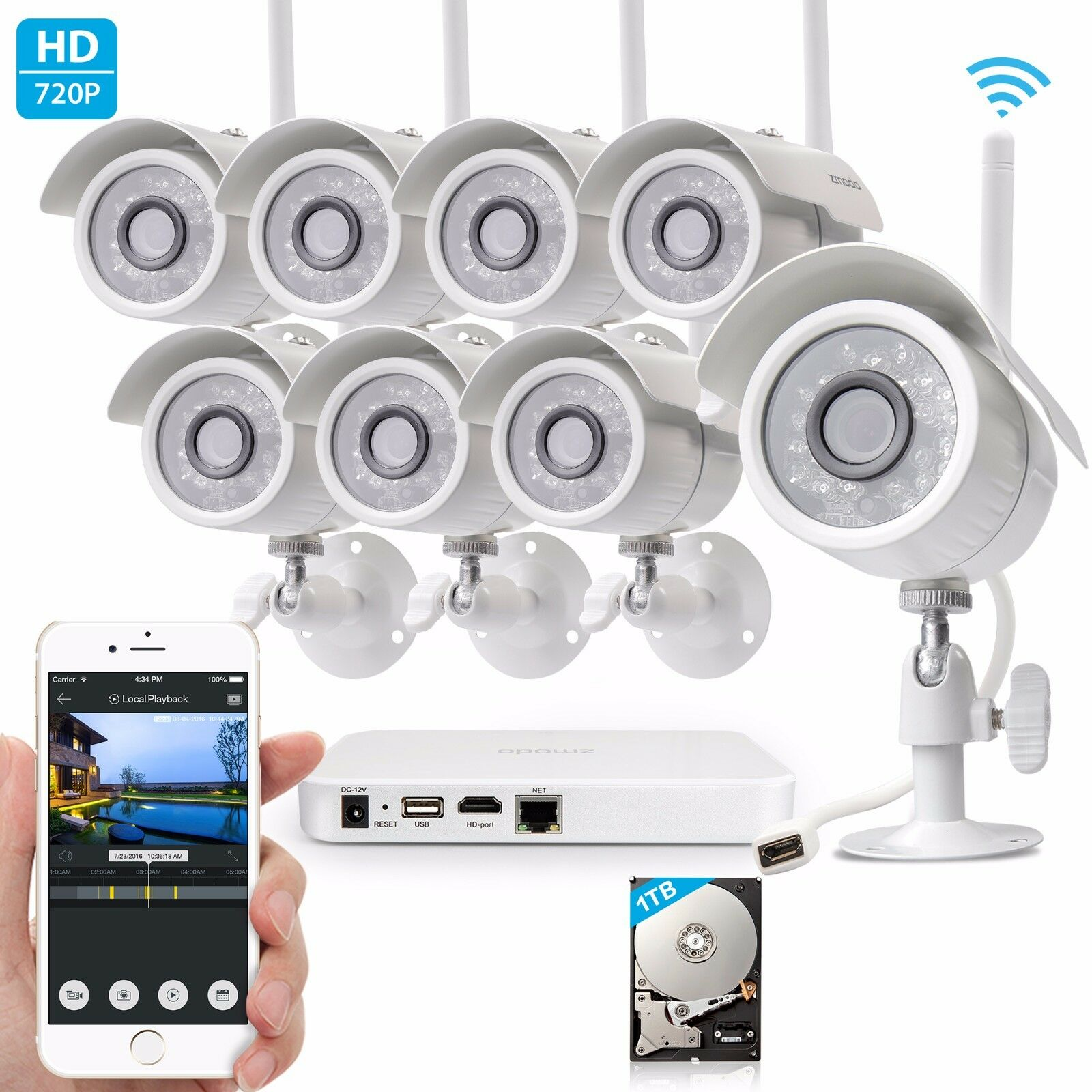 Zmodo 1080p HDMI 8CH NVR System With (8) 1.0 Megapixel Wireless Cameras 1TB