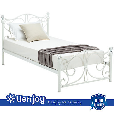 Twin Size White Metal Bed Frame Cry Finial Headboard Footboard Bedroom Furniture