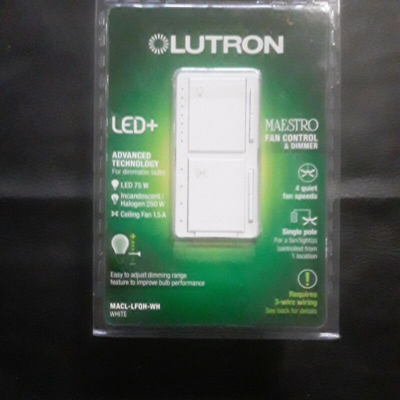 """LUTRON LED+ MAESTRO FAN CONTROL & DIMMER MACL-LFQH-WH """"NEW MODEL"""""""