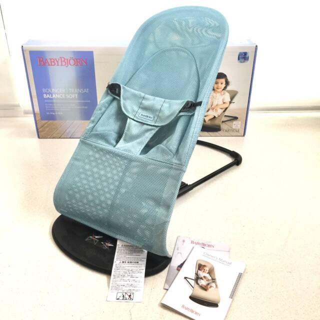 c67479f2a20 AS NEW Baby Bjorn Bouncer Balance Soft Mesh Turquoise Blue in Box ...