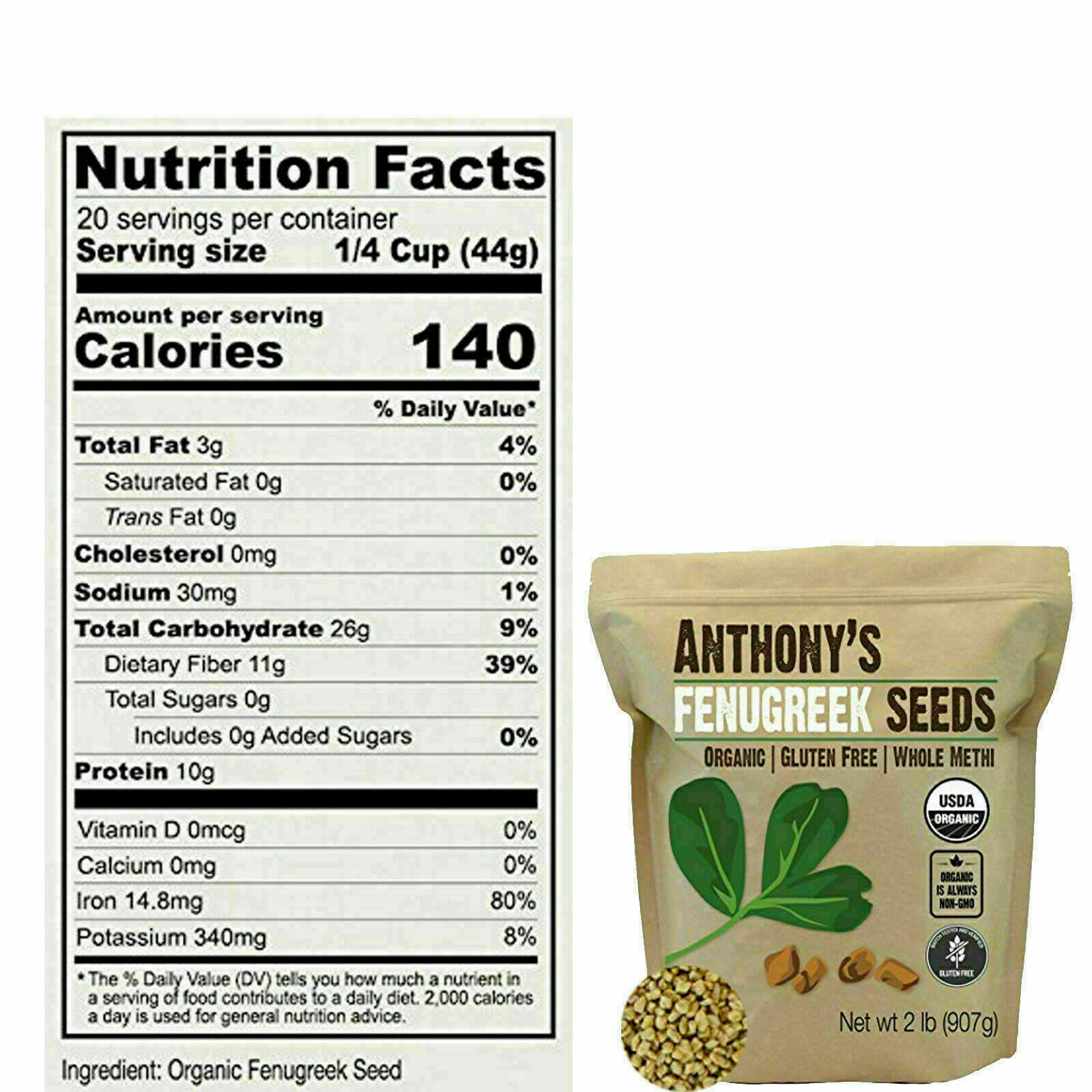 ORGANIC FENUGREEK SEEDS WHOLE METHI Seed Gluten Free Non GMO