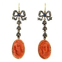 Pendientes Vintage Oro 12 Kt. Diamantes Camafeo Coral Zafiros Anni 80 -  - ebay.es