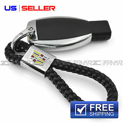 KEYCHAIN KEY FOB CHAIN RING BLACK LEATHER FOR CADILLAC - US SELLER EE12