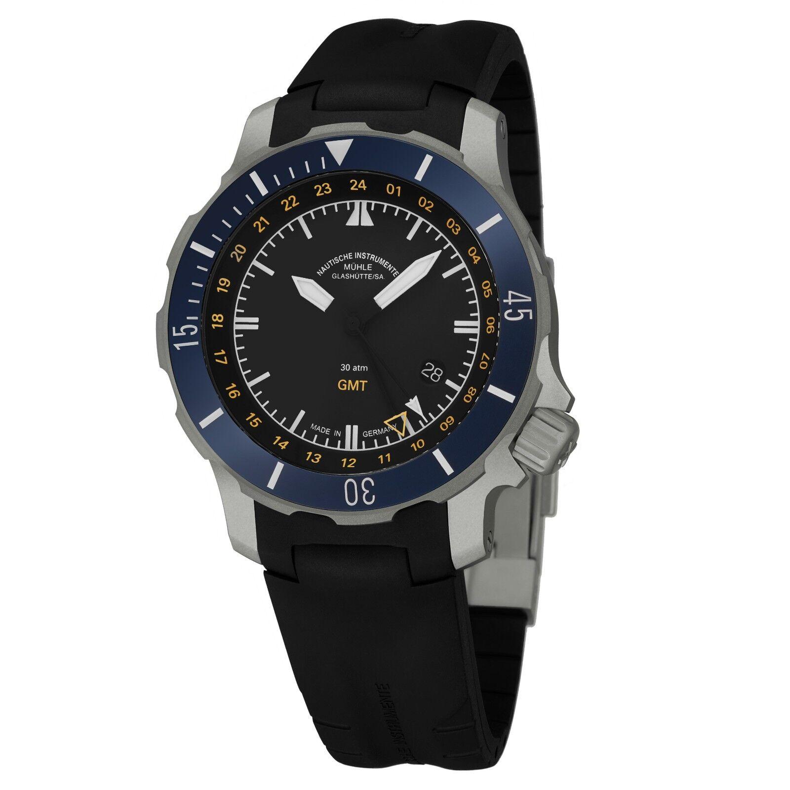 Mühle Glashutte Men's SeeBataillon GMT Rubber Strap Automatic Watch M1-28-62-KB - watch picture 1