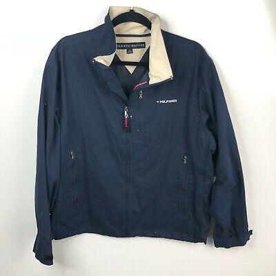 Tommy Hilfiger Windbreaker Jacket Men's L Blue Full Zip Retro 00's Spellout Logo
