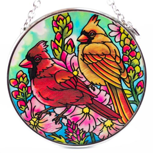 Cardinal Pair Bird Suncatcher Hand Painted Glass By AMIA Studios 3.5""