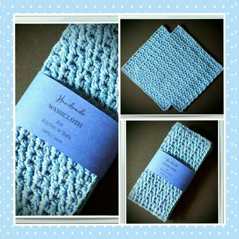 👗💙(2) Cotton Wash/Face Cloths Exfoliating Cleansing Crochet Dish Light Blue 💙