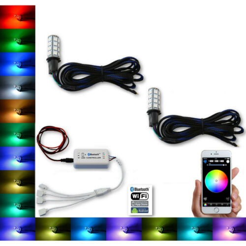 H3 27 SMD RGB Multi-Color Changing Shift Led Fog Light Bulb Bluetooth Pair
