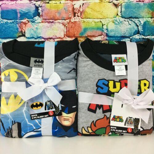 New BATMAN & SUPER MARIO 2 Piece Pajama Set Boy
